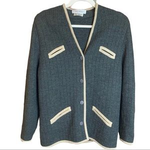 Vintage Tricoville Wool & Acrylic Button Front Grey Cardigan Sweater Size 12